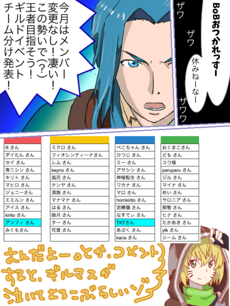 [レジスタ]2018年4月「イッツ・ショウ・タイム」ギルド内チーム戦 チーム分け発表!!